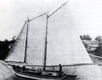 Two-masted schooner used for carrying brick from Cedar Bayou to Galveston