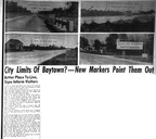 Signs pinpointing Baytown's City  limits, 1950.